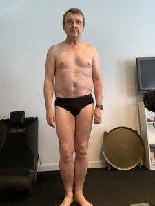Chris stripped to his underwear.