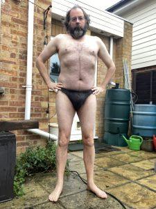 Martin stripped to his underwear