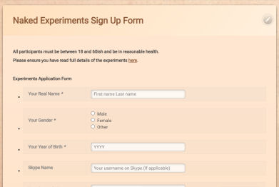 Naked Experiments Application Form